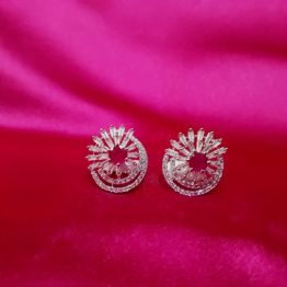 AD Stud Earrings in Rose Gold Plating