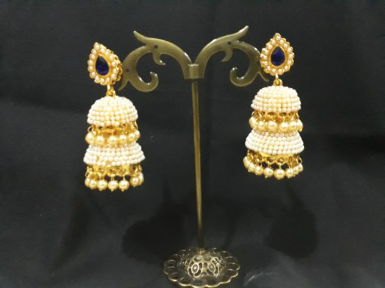 Two Layers Pearl Jhumki Pearl Earring(Off-White, Blue)