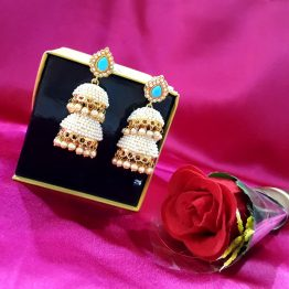 Two Layers Pearl Jhumki Earring for Women and Girls(Off-White, Aqua)