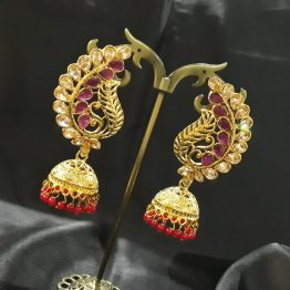 Peacock Wing Jhumki Earring(Gold, Ruby)