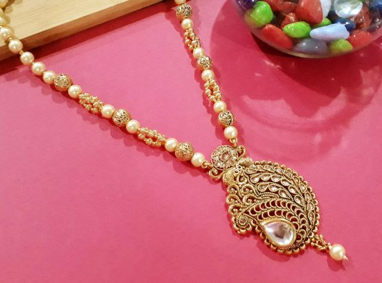 Paan Beaded Necklace Set with Earring