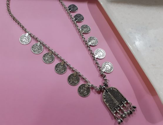 Oxidised Silver Coin Necklace