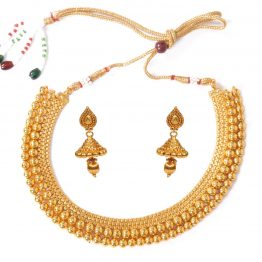 Gold Round Necklace Set with Jhumki Earring