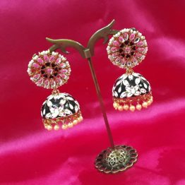 Meenakari Jhumki Earring in Black