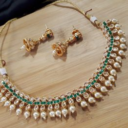 Paan Necklace Set(Golden, Green)