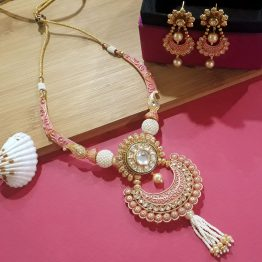 Designer Chand Necklace (Golden, Pink)