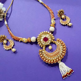 Designer Chand Necklace(Golden, Red)