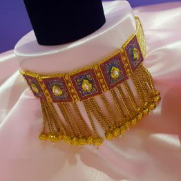Antique Look Pearl Designer Choker Necklace (Ruby and Blue)