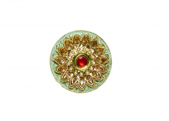 Stylish Flowery Finger Ring (Gold and Neon Green)