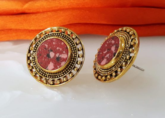 Round Stud Earring (Gold, Ruby)