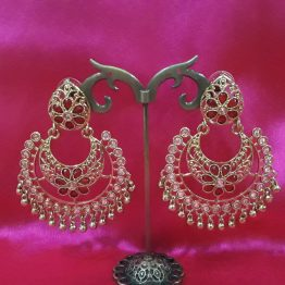 Indo Western Chand Earring (Golden, Maroon)