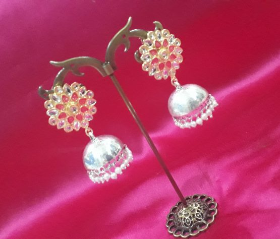 Indo Western Jhumki (Silver and Pink)