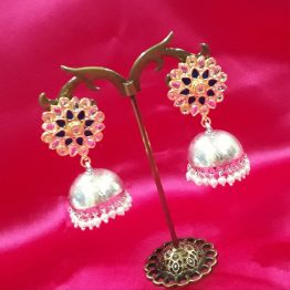 Indo Western Jhumki (Silver and Black)