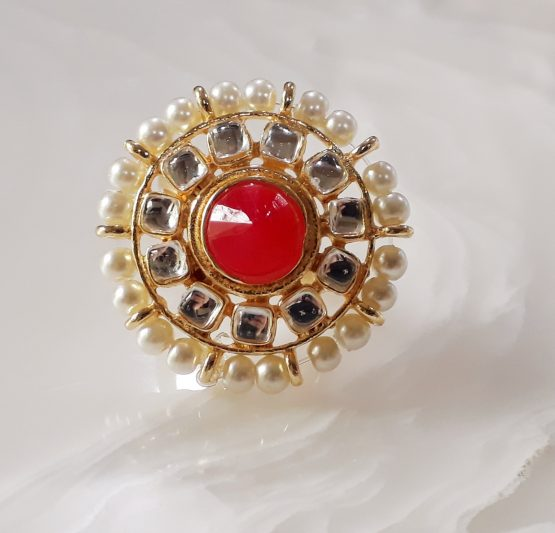 Pearl Finger Ring (Gold and Red)
