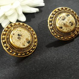 Round Stud Earring (Gold, White)