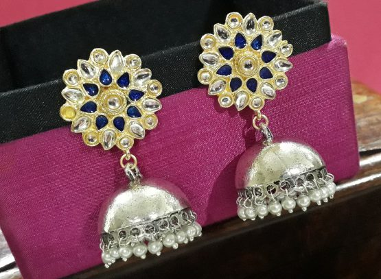 Indo Western Jhumki (Silver and Blue)