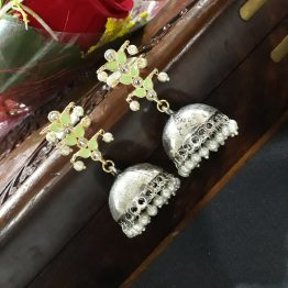 Leaf Indo Western Jhumki (Silver and Mint)