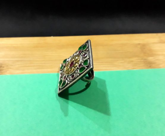 Stylish Big Square Oxidised Silver Finger Ring (Ruby and Green)