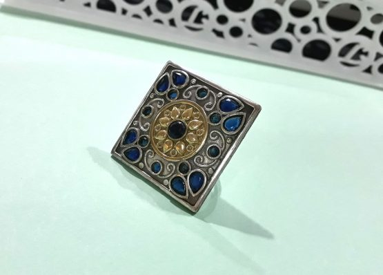 Stylish Big Square Oxidised Silver Finger Ring (Blue)
