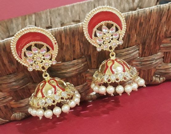 Big Stylish Jhumka (Golden and Red)