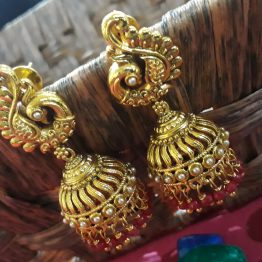 Peacock Jhumki Earring (Golden and Ruby)