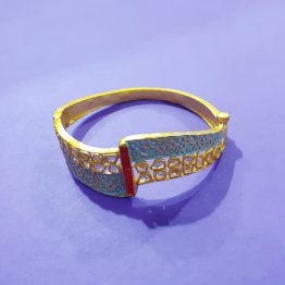 Designer Antique Kada for Girls (Golden, Aqua)