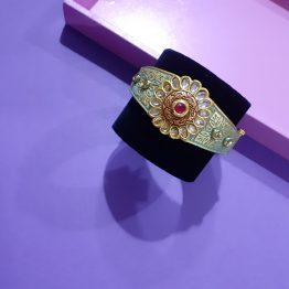 Flower Center Antique Kada for Girls (Neon Green)
