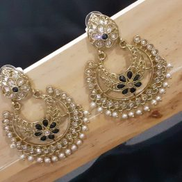 Indo Western Chand Earring (Golden, Black)
