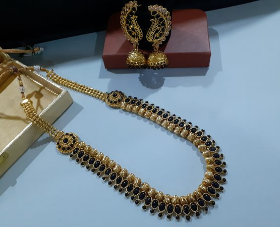 Long Necklace with Peacock Wing Jhumki (Golden and Black)