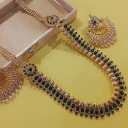 Long Beaded Necklace with Chandbali Earring (Golden and Black)
