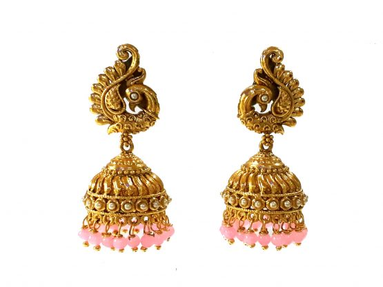 Peacock Jhumki Earring (Golden and Pink)