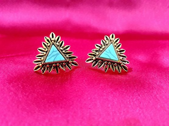 Triangular Stud Earring (Gold, Aqua)