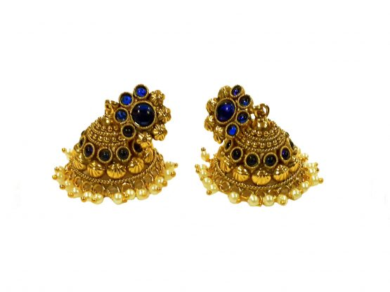 Flower Head Cone Jhumki Earring (Gold and Blue)