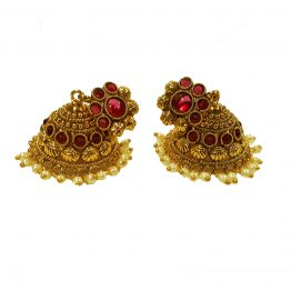 Flower Head Cone Jhumki Earring (Gold and Red)