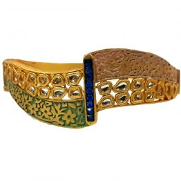 Designer Antique Kada for Girls (Golden, Blue)