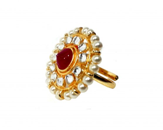Pearl Finger Ring (Gold and Rani)