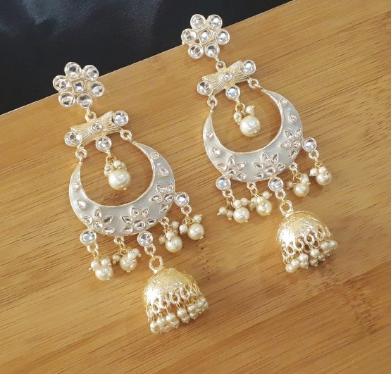 Indo Western Chand Earring (Golden, Grey)