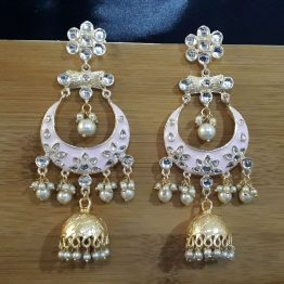 Indo Western Chand Earring (Golden, Pink)