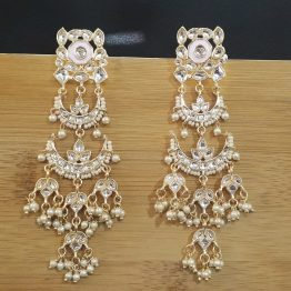 Indo Western Long Chand Earring (Golden, Pink)