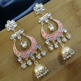 Indo Western Chand Earring (Golden, Peach)