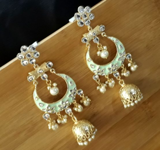 Indo Western Chand Earring (Golden, Mint)