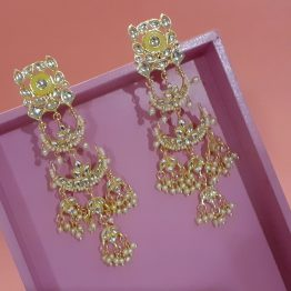 Indo Western Long Chand Earring (Golden, Yellow)