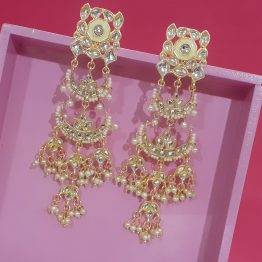 Indo Western Long Chand Earring (Golden, White)