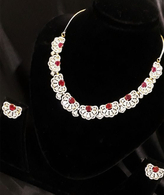 Half Chand Trendy AD Necklace (White, Ruby)