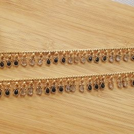 Paan drop polki payal (Golden, Black)