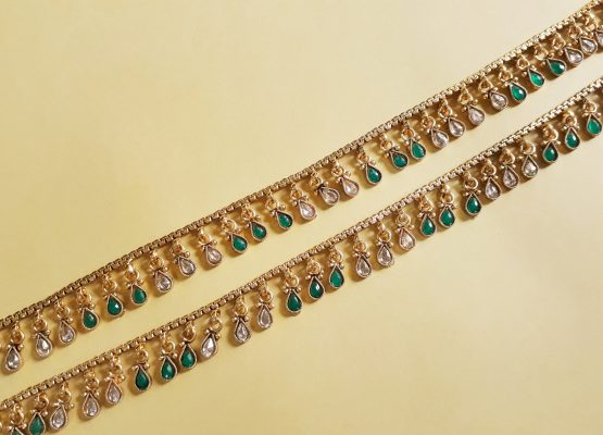 Paan drop polki payal (Golden, Green)