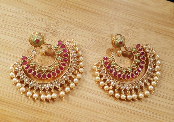 Kundan Earring (Neon Green, Red)