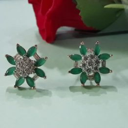 American Diamond Stud Earrings in Green