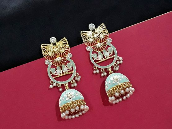 Long Love Bird Meenakari Jhumki (Gold, Aqua)