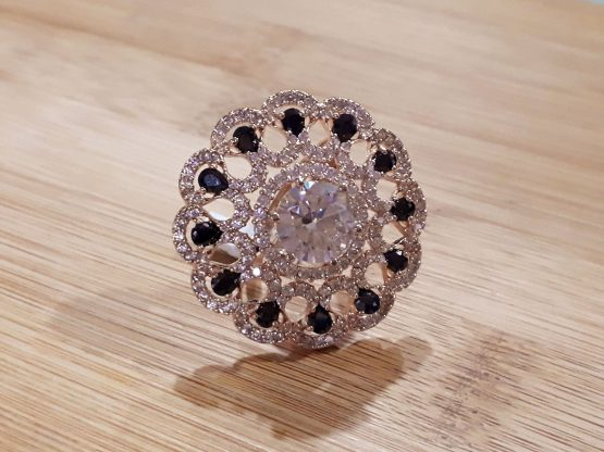 Round Studded Ring (Black)